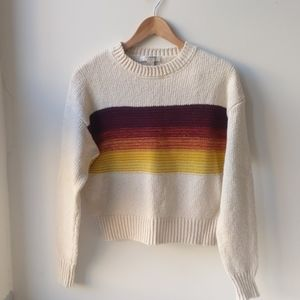 Forever 21 Crop Multi Color Stripe & Cream Sweater